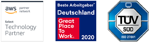 Zertifikate: AWS Partner Network, Great Place to Work 2020, ISO 27001